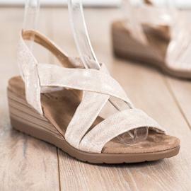 S. BARSKI Wedge Sandals S.BARSKI beige guld 2