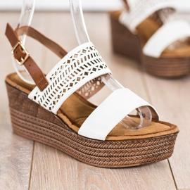 S. BARSKI Vita sandaler på kil S.BARSKI brun 1